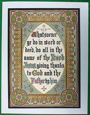 Original Vintage Lithographed Biblical Verse Colossians 3.17 Print