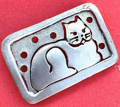 Vintage Silver Cat Lover Brooch Kitty Rectangle Kitten Pin Estate Antique Pewter