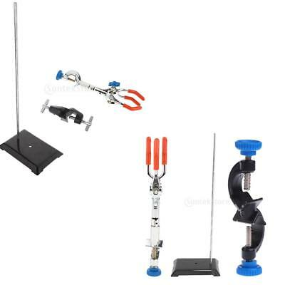 19'' Meta Lab Bracket Support Stand + Flask Clip Clamp with Boss Head + Grip