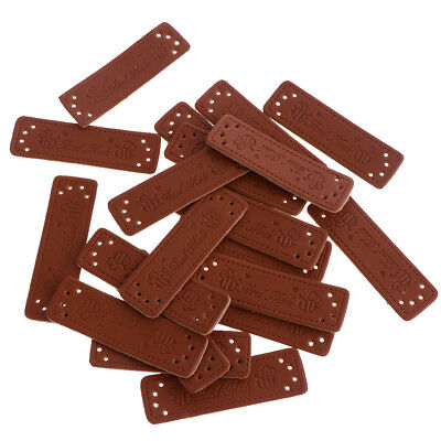 20pcs Handmade Label PU Leather Tag Clothes DIY Jeans Bag Sewing Crafts 2#