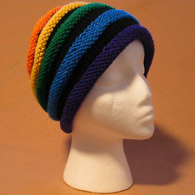 Hand Knitted Rainbow Woman's or Man's Acrylic Hat by G & L