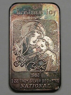 "ART BAR: 1983 ""Christmas Joy"", Mary & Baby Jesus. 1 Troy oz .999 Fine Silver. #8"