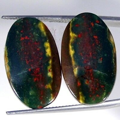 23.80Cts 100% Natural bloodstone Opal Oval Pair Cabochon Loose Gemstone