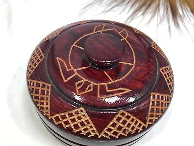 Aboriginal Art Round Turned Wood Bowl Lathe Collectable 150mm Dia X 80mm High
