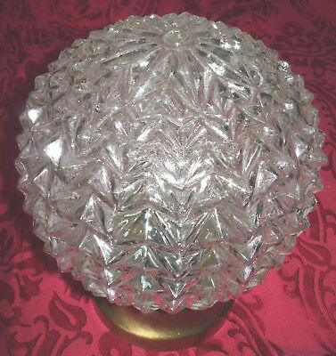 "Vintage Big 8"" Round Spiked Chevron Textured Clear Glass Globe Ceiling Fixture"