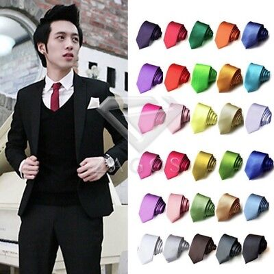 Men Casual Slim Plain Solid Skinny Neck Wedding Tie Silk Necktie 145*5*3.5cm