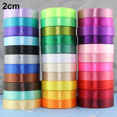25 Yards/Roll Solid Silk Satin Ribbon Wedding Party Decor Wrapping Width 1-8cm