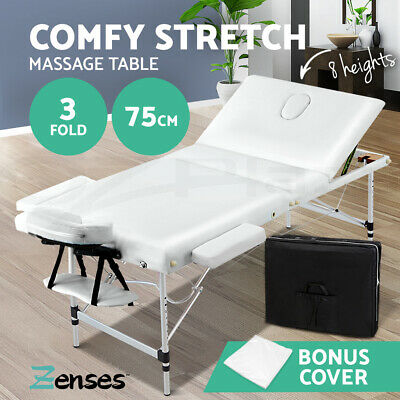 Zenses 75cm Portable 3 Fold Aluminium Massage Therapy Table Beauty Waxing Bed