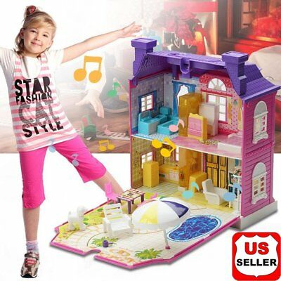 Girls Doll House Play Set Pretend Play Toy for Kids Pink Dollhouse Children DD