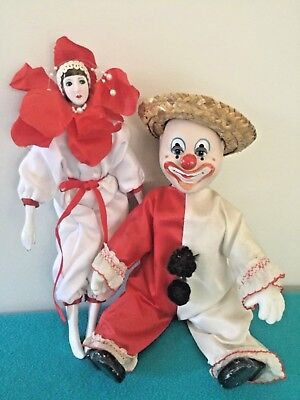 Vintage porcelain clown and lady Vintage Dolls collectable