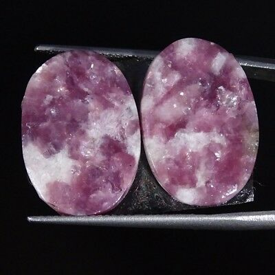 17.00Cts 100% Natural Lepidolite Oval Pair Cabochon Loose Gemstone