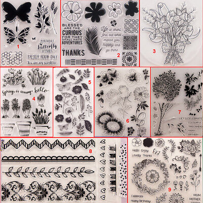Flower Plant Transparent Silicone Clear Stamps DIY Scrapbook Embossing Card Art