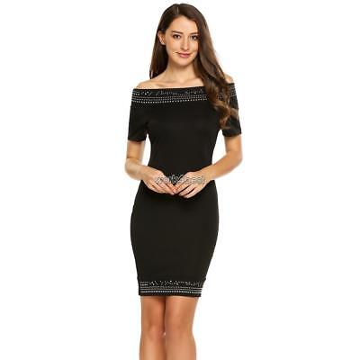 Women Sexy Short Sleeve Off Shoulder Embellished Bodycon Pencil Dress WST