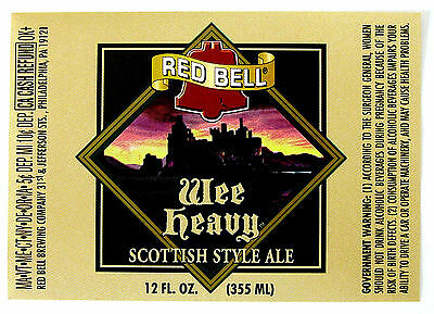 Red Bell Brewing WEE HEAVY  beer label PA 12oz Var #1 - With CRVs