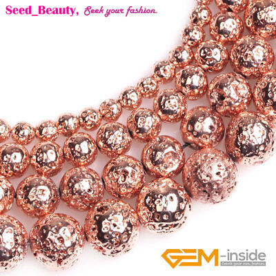 Round Rose Gold Coated Volcanic Lava Rock Beads For Jewelry Making Strand 15''