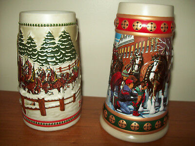 2 - Vintage Budweiser Holiday Stein Collection Christmas Clydesdales. 3D Design