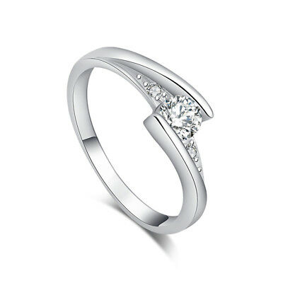 Fashion Silver Cubic Zirconia Nice Women Lady Finger Band Ring Jewelry Size 6-9