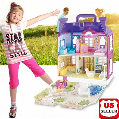 Doll House Miniature DIY Kit Doll Toy House With Furniture LED Light Box Gift WP