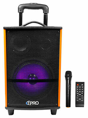 Technical Pro WASP810H Rechargeable Bluetooth Karaoke Machine System w/LED's+Mic