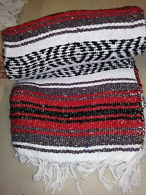"Authentic Red Mexican Falsa Blanket Hand Woven Yoga Mat Blanket  74"" x 50"""