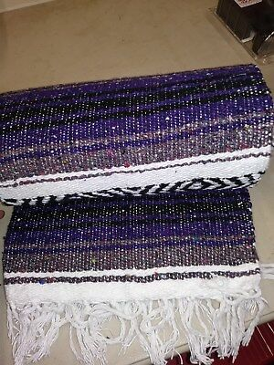 "Authentic Purple Mexican Falsa Blanket Hand Woven Yoga Mat Blanket  74"" x 50"""