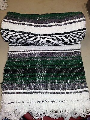 "Authentic Dark Green Mexican Falsa Blanket Hand Woven Yoga Mat  74"" x 50"""