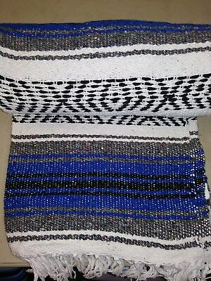 "Authentic Blue Mexican Falsa Blanket Hand Woven Yoga Mat Blanket  74"" x 50"""