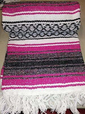 "Authentic Mexican Falsa Blanket Fuchsia Hand Woven Yoga Mat Blanket  74"" x 50"""