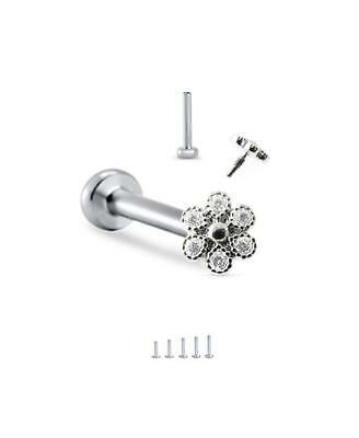 316L Surgical Steel Labret Nose Monroe Ring 5mm Flower 16G 18G