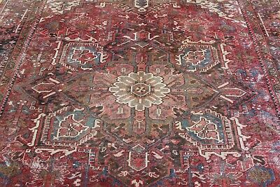 ANTIQUE CHARMING OLD HANDMADE HERIZ ORIENTAL CARPET (365 x 265 cm)