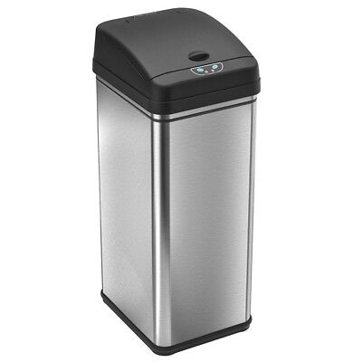 Touchless 13 Gallon Stainless Steel Automatic Trash Can Carbon Filter Deodorizer