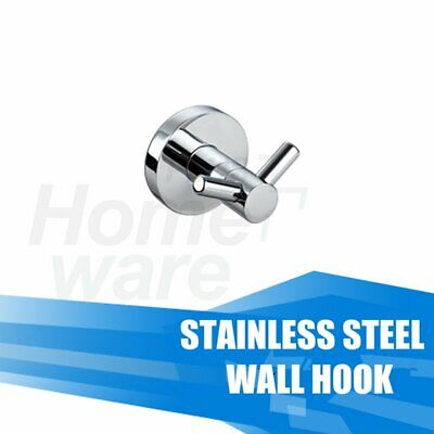 Cloth Towel Coat Robe Double Wall Mount Hook Holder Hanger Chrome Round Bathroom