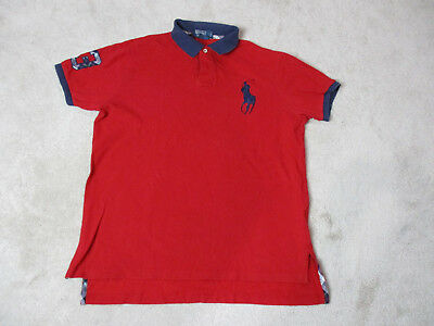f18051f94 VINTAGE Ralph Lauren Polo Shirt Adult Large Red Blue Plaid Big Pony Rugby  Mens