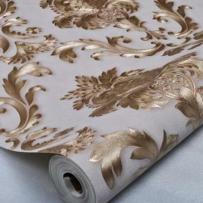 10m 3D Textured Metallic Damask Wallpaper Luxury Gold Wall Paper Covering Roll