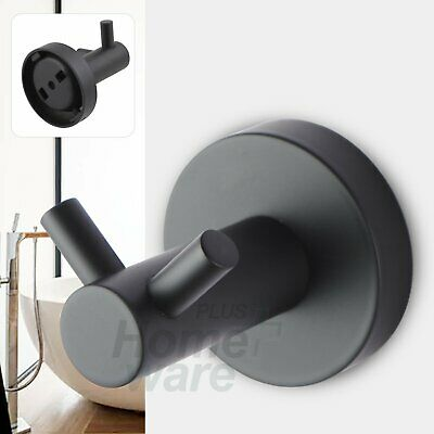 Cloth Towel Coat Robe Double Wall Mount Hook Holder Hanger Black Round Bathroom