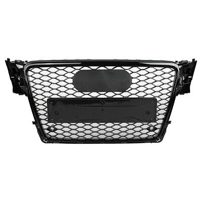 For Audi A4 S4 B8 RS4 Style 09-12 New Honeycomb Type Mesh ABS Front Black Grill