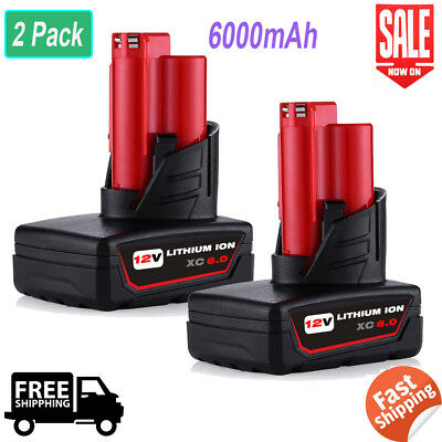 12V For Milwaukee M12 48-11-2460 LITHIUM ION XC 6.0 Battery 2 Pack New