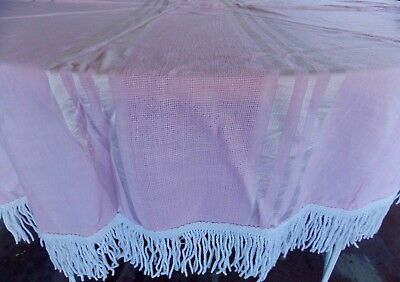 Vintage Mid Century Printed Oval Pink Table Cloth with White Fringe