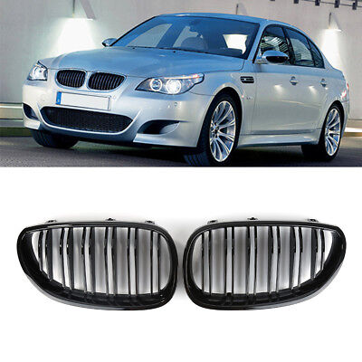 For 03-09 BMW E60 E61 5 Series M5 Front Kidney Grill Dual Line Gloss Black -gee