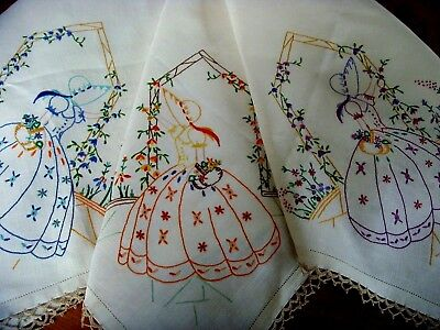 Superb Vintage Hand Embroidered Tablecloth Crinoline Ladies Cottage Garden Lace