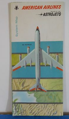 Map American Airlines System Map Astrojets 1962 Feb T197P
