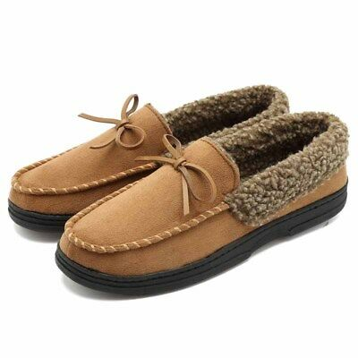 738e745448f Fashion Mens Slip On Casual Shoes Flats Fur Lining Suede Driving Moccasin  Loafer