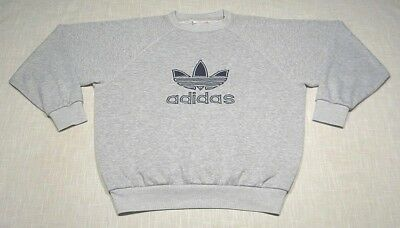 Vtg ADIDAS Crew Neck Trefoil Sweatshirt (80s) Heather Gray SEWN/EMBROIDERED! L