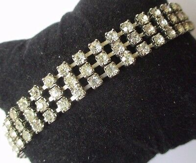 bracelet ancien cristaux diamant 3 rangs bijou vintage couleur or blanc  572