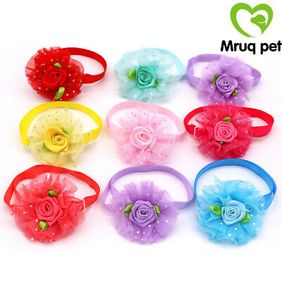 1X Spring Pet Puppy Dog Cat Bowties Dog Flower Adjustable Bow Ties Dog Accessory