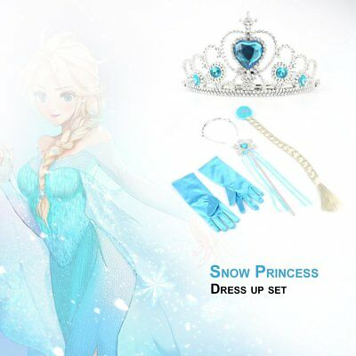 5Pcs Cosplay Crown Tiara Hair Accessory Crown Wig + Magic Wand For Elsa Anna P6