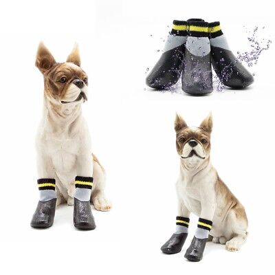 4Pcs Non-Slip Dog Shoes Rain Socks Pet Waterproof Rubber Boots