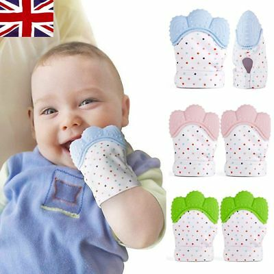 1/2PCS Baby Teething Mitt Teether Mitten Glove Silicone Safe Chew Dummy Toy Gift