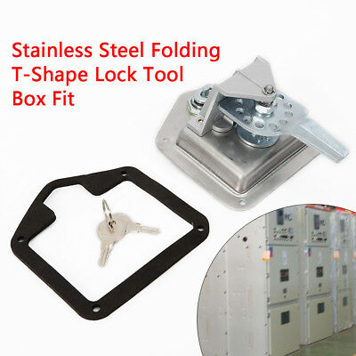 Stainless Steel Folding T Shape Handle Lock Tool Box Keys Truck Trailer Camp Use