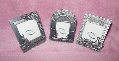 Set Of Three Pewter Mini Photo Frames Cats Kitty In Window Very Cute!